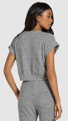 Bella Dahl Banded Roll Sleeve Crop Tee Heather Grey | ShopAA