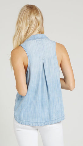 Bella Dahl Sleeveless Gusset Shirt Del Sol Wash Denim Tank I ShopAA