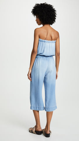 Bella Dahl Strapless Denim Chambray Frayed Tencel Jumpsuit I ShopAA