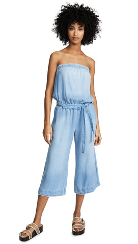 Bella Dahl Strapless Denim Chambray Frayed Tencel Jumpsuit Blue Crop Belt I ShopAA