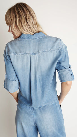 Bella Dahl Tie Front Pocket Shirt Medium Ombre Denim Wash Button Down