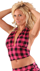 Cheryl Marilyn Halter Tie Sexy Crop Top Pink Plaid