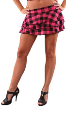 Cheryl Plaid Layered Mini Skirt Pink Plaid