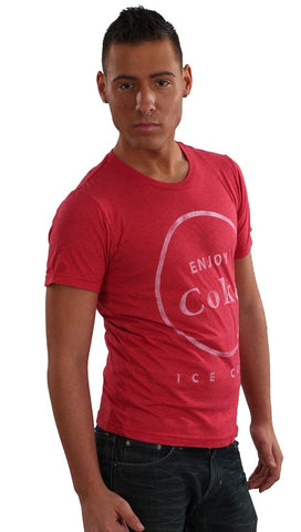 Chaser LA Mens Enjoy Coke Ice Cold Crew Neck Tee Shirt in Red
