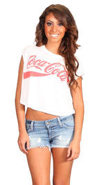 Chaser LA Coca Cola Muscle Crop Tank Boxy Tee in White