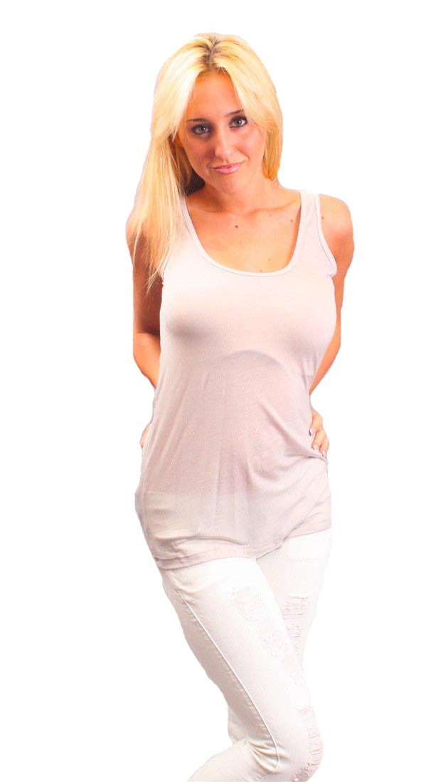 Chaser LA Dual Layered Racerback Tencil Tank in Grey