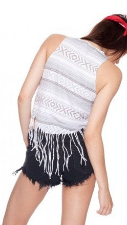Chaser Trompe Poncho Muscle Fringe Tee