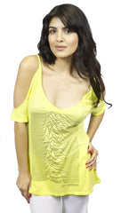 Chaser LA Joy Division Cold Shoulder V Neck Tee in Yellow