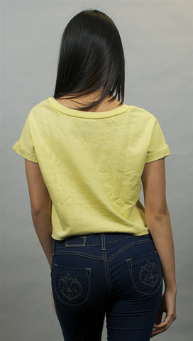 Chaser Boxy Crop Roll Sleeve Pullover in Citrine