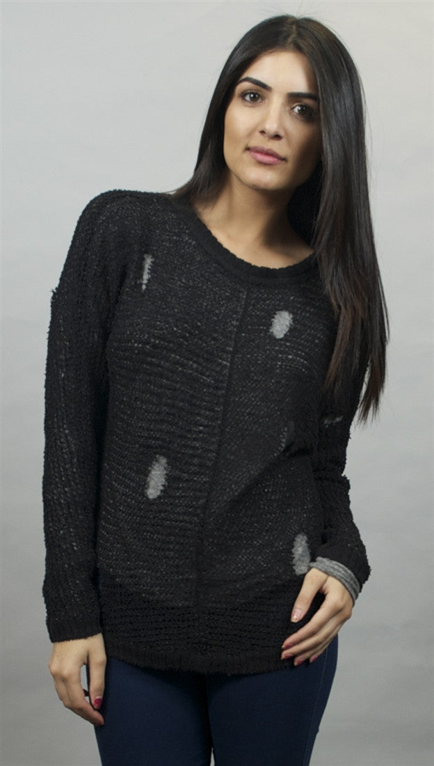 Chaser Distressed Tear Drop Back Pullover Sweater