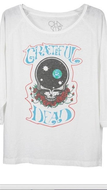 Chaser Grateful Dead Rosie Skull Burnout Raglan in White