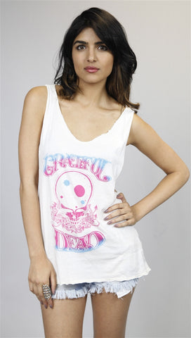 Chaser Grateful Dead Gradient Rose Skull Muscle Tank