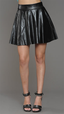 Cheryl Perforated Vegan Leather Warrior Skirt in Black