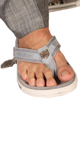 Christian Audigier Mens Cali Flip Flop Sandal Grey White