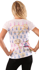 Christian Audigier Key To My Heart Embroidered Tee in White