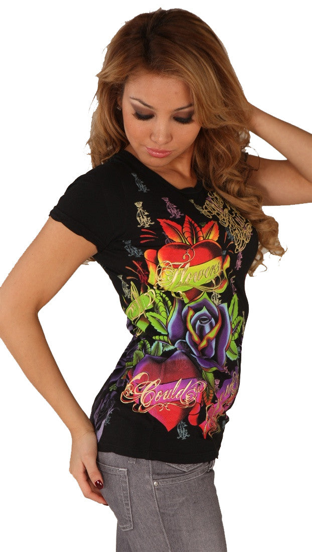 Christian Audigier Flower and Heart Embroidery Neon Tee Shirt Black