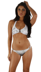 Christian Audigier Logo Bikini Set in White and Gray …