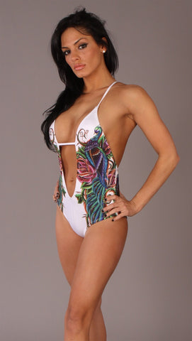 Christian Audigier Peacock One Piece Bathing Suit