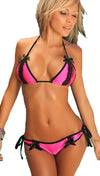 Chynna Dolls Neon Pink Bikini w/ Bi-Color Lace Trim & Satin Bows
