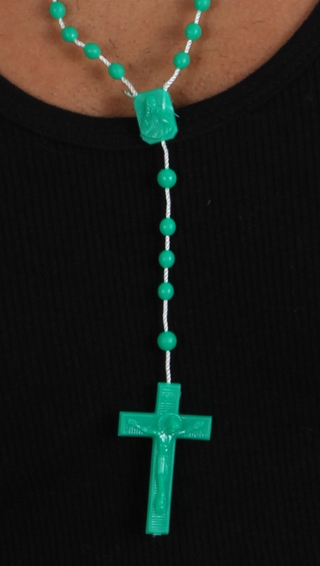 Plastic Rosary Bead Necklace in Green