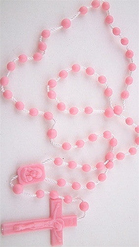 Plastic Rosary Bead Necklace in Pink