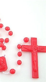 Plastic Rosary Bead Necklace in Red