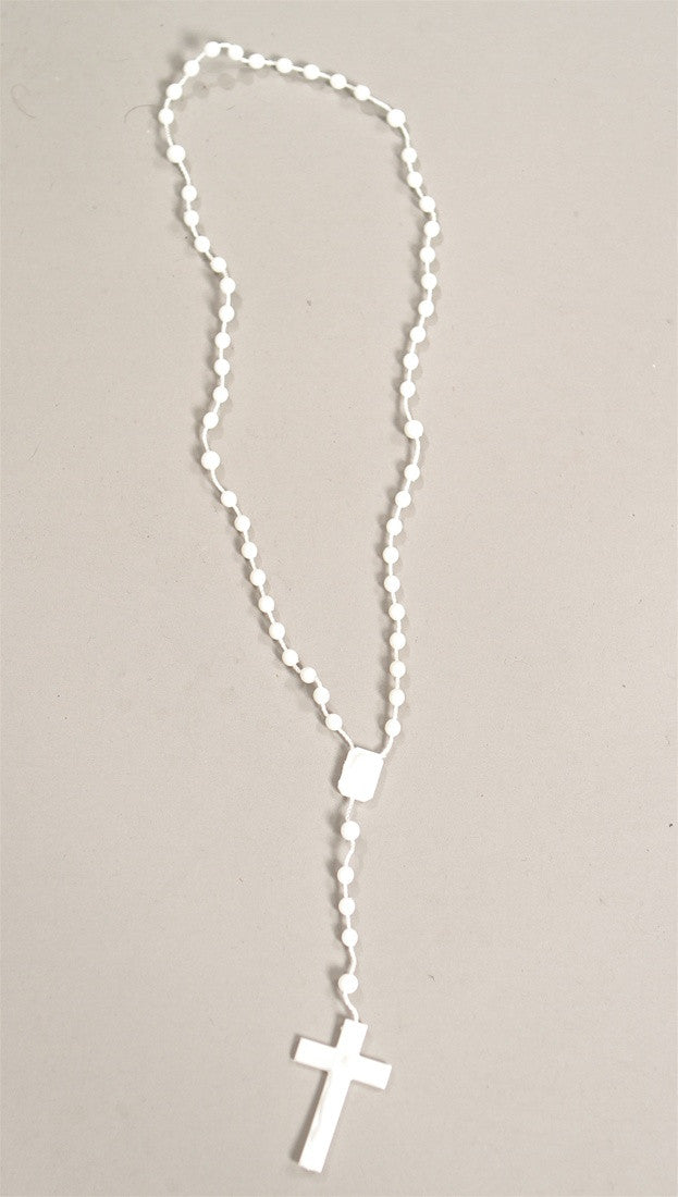 Plastic Rosary Bead Necklace in White