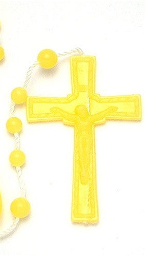 Plastic Rosary Bead Necklace in Yellow