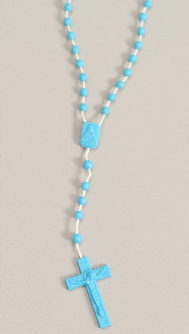 Plastic Rosary Bead Necklace in Blue