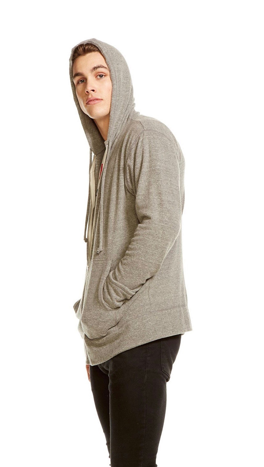 Chaser Mens Vintage Knit Zip Up Hoodie Heather Grey | ShopAA