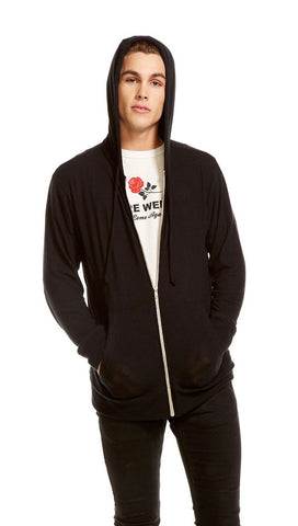 Chaser Mens Vintage Knit Zip Up Hoodie True Black | ShopAA