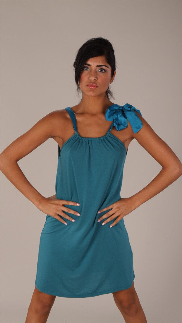 C & C California Bamboo Neck Tie Dress Teal