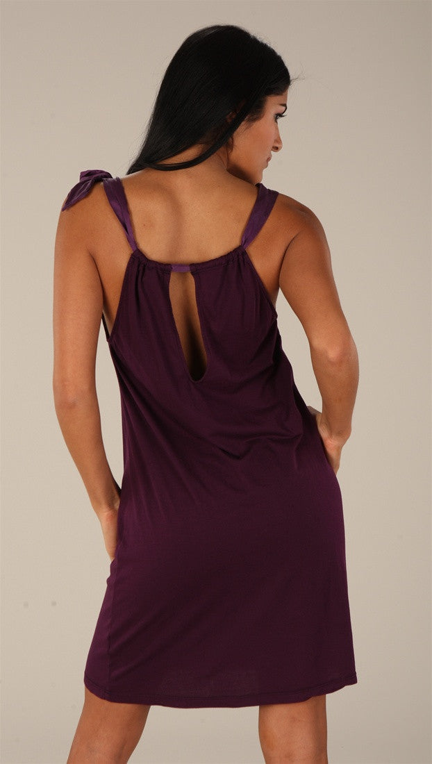 C & C California Bamboo Neck Tie Dress Plum
