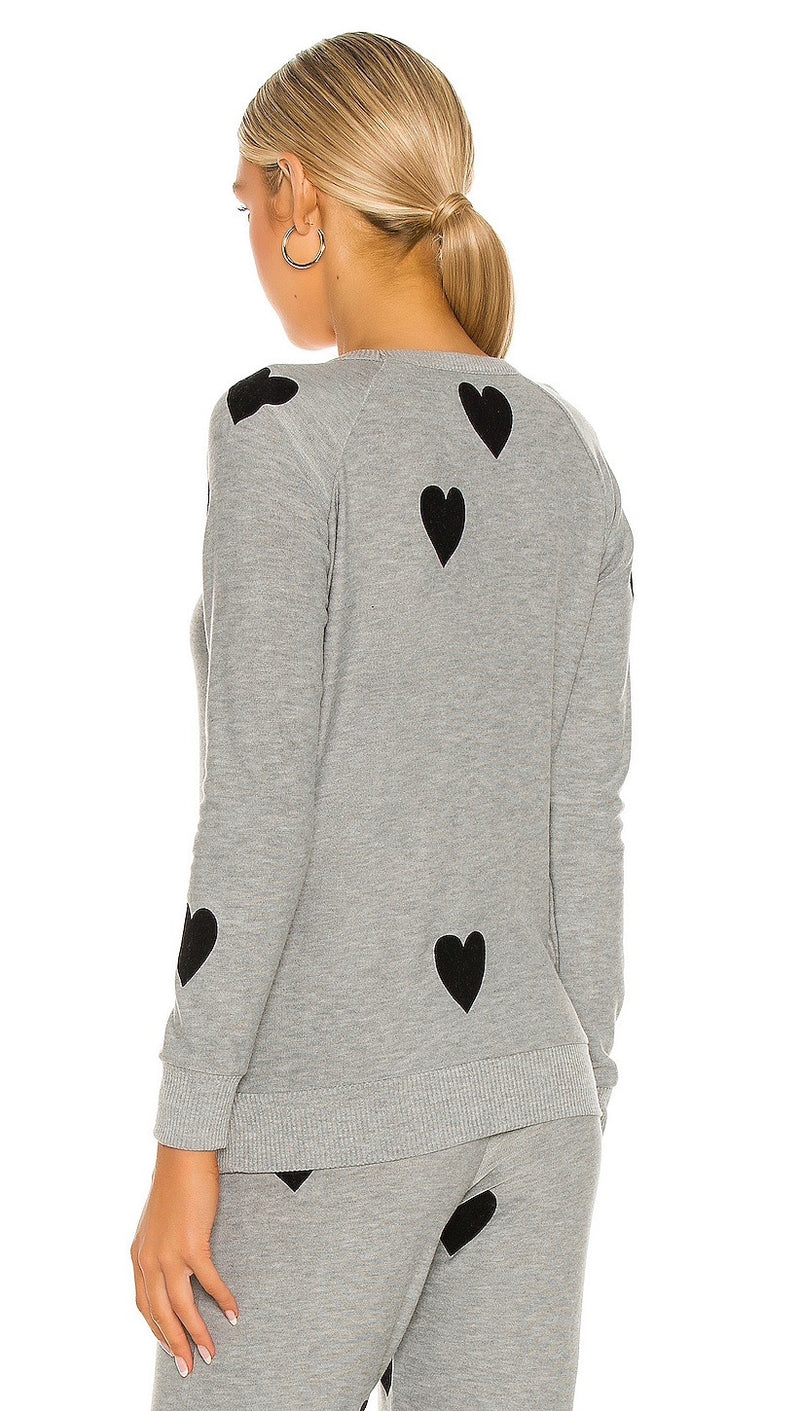 Chaser Flocked Black Hearts Print Long Sleeve Raglan Pullover Heather Grey I ShopAA