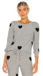 Chaser Flocked Hearts Long Sleeve Raglan Pullover Heather Grey I ShopAA