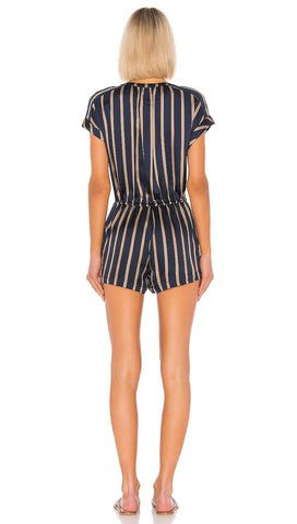 Chaser LA Silky Basics Drop Shoulder Drawstring Button Romper Stripe