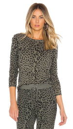 Chaser LA Gauzy Cotton Jersey Long Sleeve Leopard Shirttail Top Safari Green | ShopAA