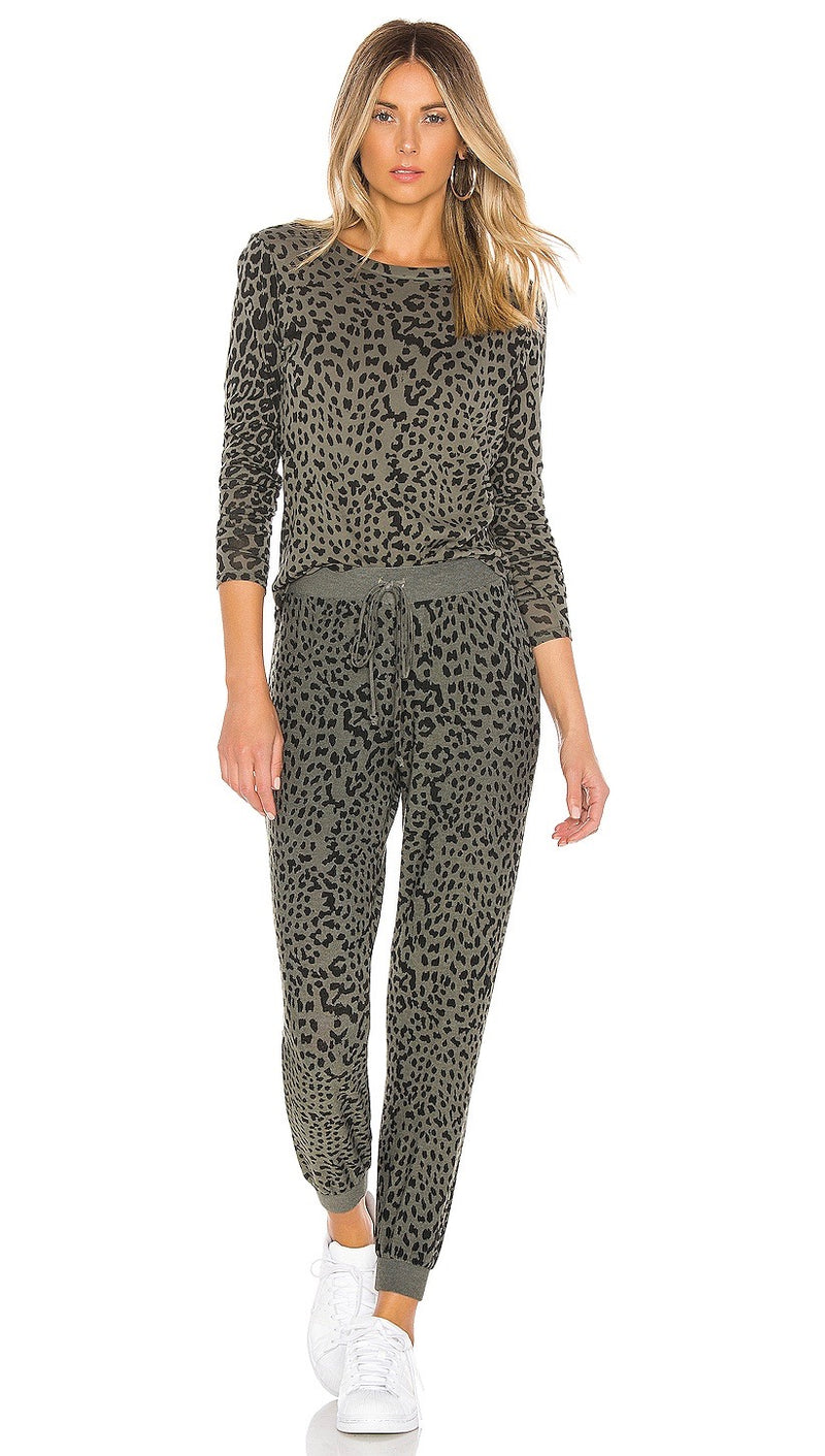 Chaser LA Gauzy Long Sleeve Leopard Top Safari Green | ShopAA