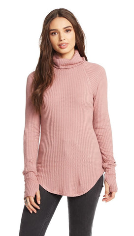 Chaser LA Pink Rosebud Waffle Thermal Turtleneck Thumbholes I ShopAA