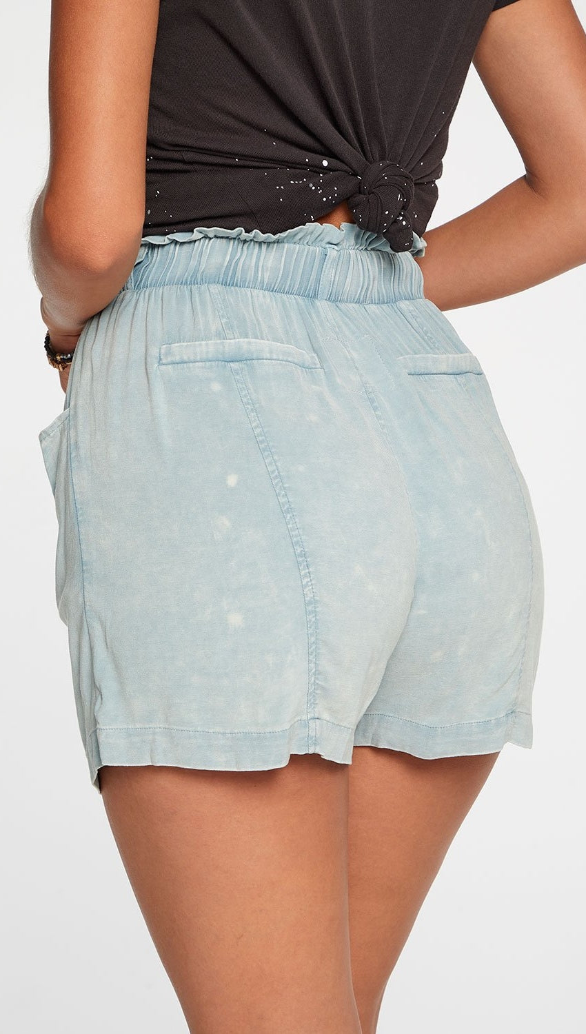 Chaser Heirloom Wovens Paperbag Waist Shorts In Powder Blue Cloud Wash