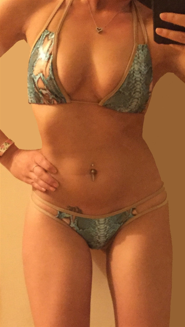 Dare Me Bikini Cut Our Snake Print Swim in Green w/ Gold Trim