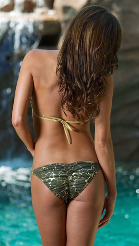 Dare Me Bikini Green Metallic Gold Animal Print w/ Gold Ring