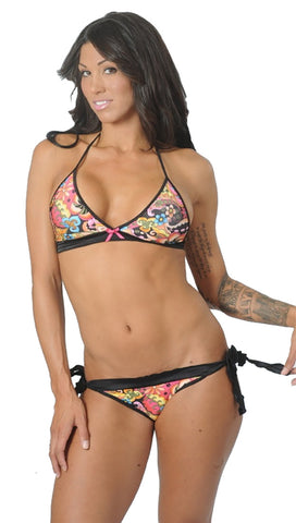 Dare Me Bikini 70's Hippie Print with Black Ruffles