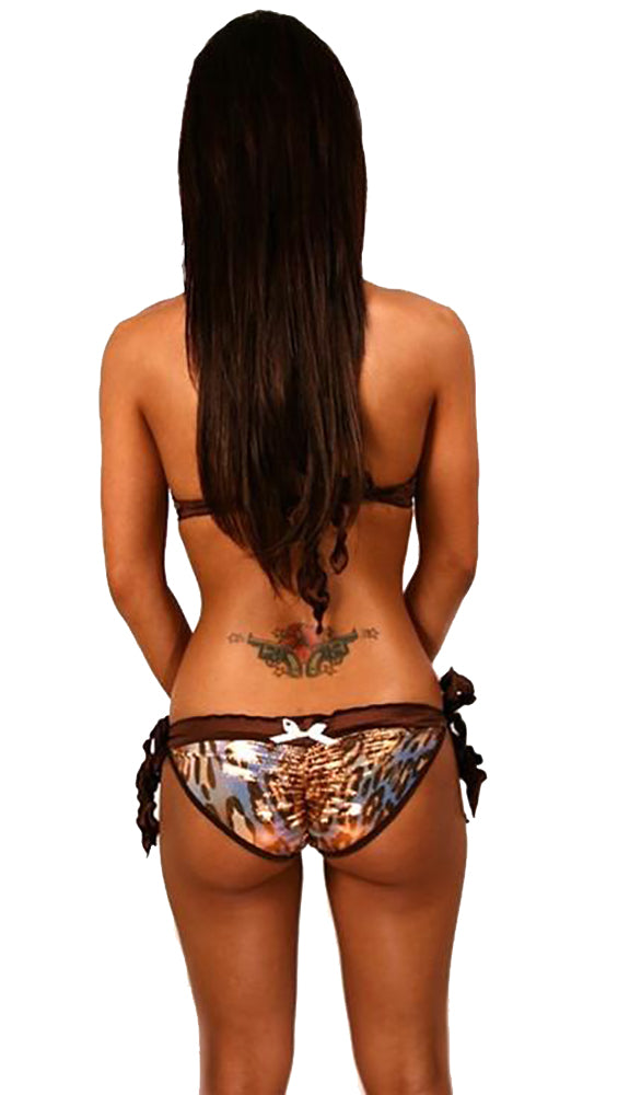 Dare Me Bikini Brown Leopard Hologram with Brown Ruffles