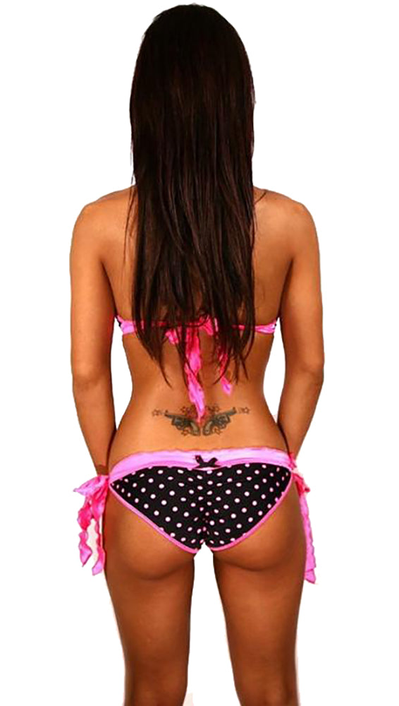 Dare Me Bikini Black Pink Polka-dots Hot Pink Ruffles Swimwear Scrunch Butt