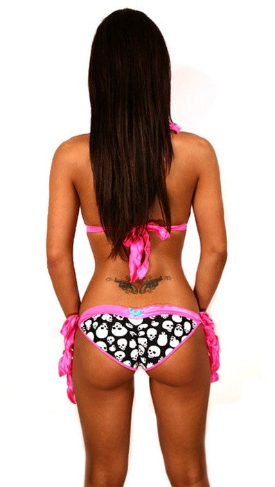 Dare Me Bikini Black with Skull Print & Hot Pink Ruffles