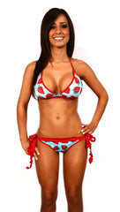Dare Me Bikini Turquoise with Strawberry Print & Red Ruffles