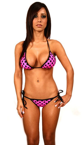 Dare Me Bikini Hot Pink Black Dots w/ Black Ties