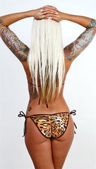 Dare Me Bikini Brown & Green Leopard Print w/ Brown Ties