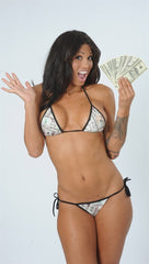 Dare Me Bikini Money Print w/ Black Ties